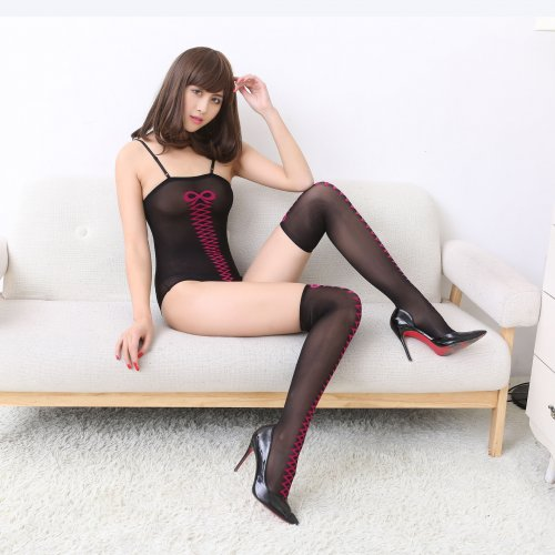 Europe and the United States thin jacquard silk stockings Sexy transparent women
