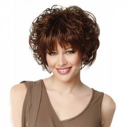 Brown Suitable Wavy Remy Human Hair Medium Wigs
