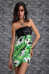 green stapless dress with