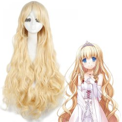 Anime Amagi Brilliant Park Latifah Fururanza Cosplay Curly Long Blonde Wig Women