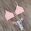 Strappy Bandage Snakeskin Pattern Bralette Swimsuit Women Swimwear Push Up Bikini