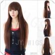 U Part Wig Womens Long Straight Hair Wig Cosplay Party Wigs Black/Brown U Part Wig