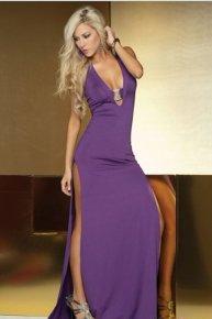 purple noble women dress