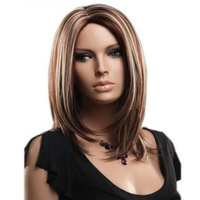 Blonde Soft Straight Shoulder Length Synthetic Bob Wigs