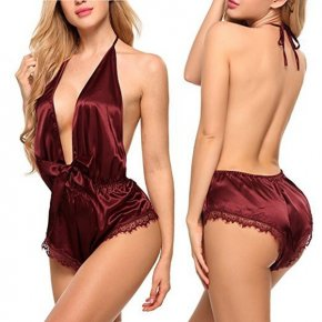 New Fashion Women Sexy Lace Scalloped Satin Sleepwear Deep V-neck Backless Nightwwear One Piece