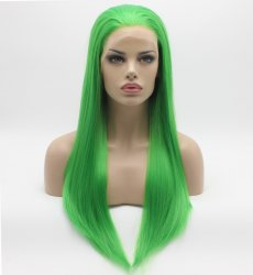 K02 Fashion 26inch Long Straight Green Synthetic Lace Front Wig Natural Hair Resis