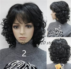 Women 's Medium short Curly wigs High quality Synthetic hair wig blonde/black/