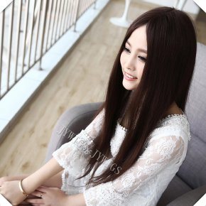 DIY Tails Middle Part Straight Wig Synthetic Women Long Brown Wig Mid-split Hair