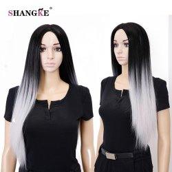 28'' Long Ombrre Gray Wig Long Straight Synthetic Wigs For Black Women Natural Cheap