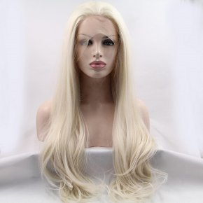 Top Quality 28inch White Blonde Ombre Synthetic Lace Front Wig Resistant Long Wav
