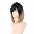 "Black to White 12"" Straight Chin Length Bob Wigs"