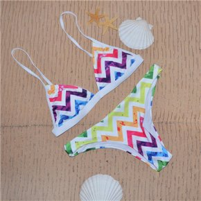 2017 New Women Multi-color Rainbow Bikini Push Up Sexy Swimsuit Low waist Bandage