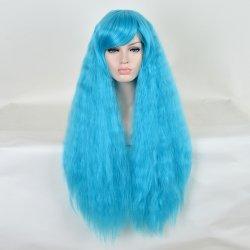 80cm Sky Blue Long Kinky Curly Cheap Resistant Women Synthetic Wig Cute Lolita
