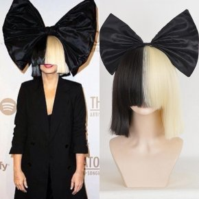 Halloween Black Bow Sia Wig Short Straight Half Black Half Blonde Neat Bangs Synthet