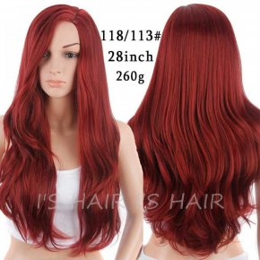 Synthetic Red Wig for Women Long Wavy Hair Wig African American Wig Resistant Cheap