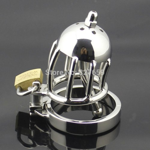 Small Male Chastity Device Adult Cock Cage With Removable Urethral Sounding Catheter