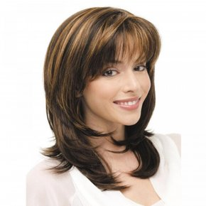Medium Curly Women Wigs for Cosplay Natural Looking Short Bangs Layer Hair Styling