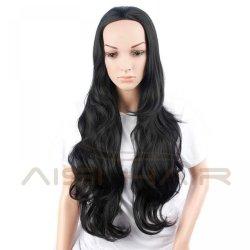 "22"" Women's Half Wig Cheap Synthetic Long Wavy Black Hair Wig For Black Women Resis"
