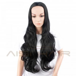 "22"" Women's Half Wig Cheap Synthetic Long Wavy Black Hair Wig For Black Women Resis"