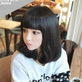 new short style lady curly wig with bangs brown/black wig women wigs short hair