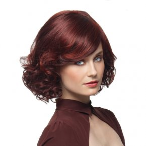 Curly Dark Red Synthetic Medium Wigs
