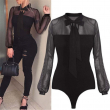 New 2018 Summer Bodysuit Women Sexy Bow Black Mock Neck Patchwork Long Sleeve Back Ladies Lace Mesh Bodysuit Transparent Tops