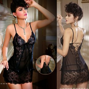 VEAMORS Women Sexy Lingerie Lace Transparent Baby Dolls,Deep V-Neck Dress Nightwear