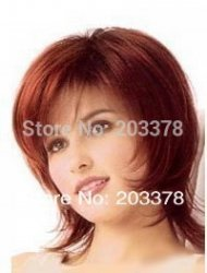 Excellent Short Bright Burgundy straight women wig 10pcs/lot mix order