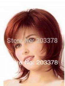 Excellent Short Bright Burgundy straight women wig 10pcs/lot mix order