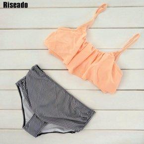 Riseado High Waist Swimwear Women New 2017 Ruffle Vintage Bikini Swimsuit Bandage