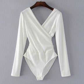 Long Sleeve Bodysuit Women Backless Jumpsuits Black White Body femme monos cortos de mujer