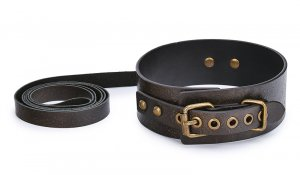 Brown Vintage Genuine Leather Sex Bdsm Collar With Leash Slave Bondage Collar Bdsm Fetish Sex Toys For Woman Couples Sm Toys