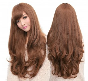 70 Cm Resistant Synthetic Hair Wig Natural Black Long Wavy Curly Blonde Wigs Female