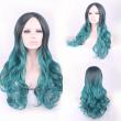 cheap beautiful soft korean sexy long black green wig resistant women hair wigs