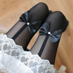 New Kawaii Women Tights Bow Tie Velvet Women Pantyhose Stocking Thin Female Silk