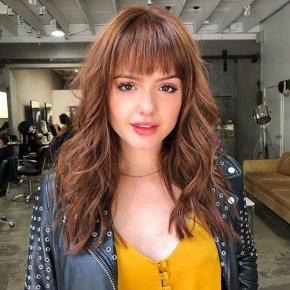 "Wave With Bangs Brown 16"" Monofilament Wig"