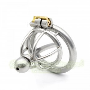 33mm New Lock Stainless Steel Include Catheter Male Chastity Belt Adult Cock Cage