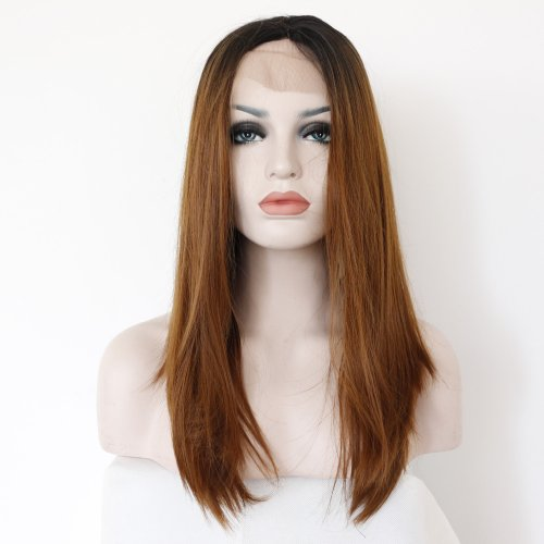 Fashion Ombre Straight Dark Roots Brown Lace Front Wig Glueless Long Natural Resist