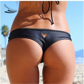 2017 black Heart cut out Beachwear Bikini Bottom Swimwear bottoms thong sexy swimsui