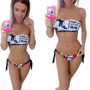 Strapless Letter Print Cartoon Bikini 2017 Mickey Swimwear Women Sexy Thongs Triangl