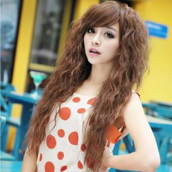 Long Curly Synthetic Hair Wig Women Natural Black Light Brown Ladies Female Part