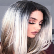 Long Synthetic Wigs Ombre Brown Blonde/Grey High Density Heat Resistant Wavy Wig