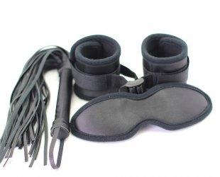 customized Sex Restraints kit, soft bondage restraints Wrist Cuffs and blindfold