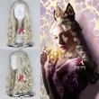 New Movie Alice in Wonderland White Queen Wig Women Long Blonde Curly Cosplay Costum
