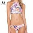 2017 Sexy High Neck Bikini Women Retro Floral Swimsuit Halter Crop Top Split Swimwea