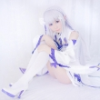 New!! Re:Life In A Different World From Zero Emilia Cosplay Wig Silver White Long