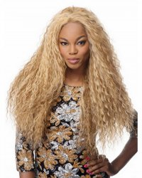 28inch sexy resistant synthetic fiber long blonde corn hair, afro kinky curly wig