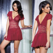 2017 New Sexy lingerie hot women Red wine lace deep v-neck short sleeves halter