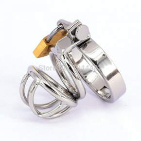 Male Chastity Device Stainless Steel Cock Short Cage Men's Virginity Lock, Small