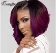 Ombre Purple Wavy Short Bob Synthetic Lace Front Wig Natural Black/Purple Resistan
